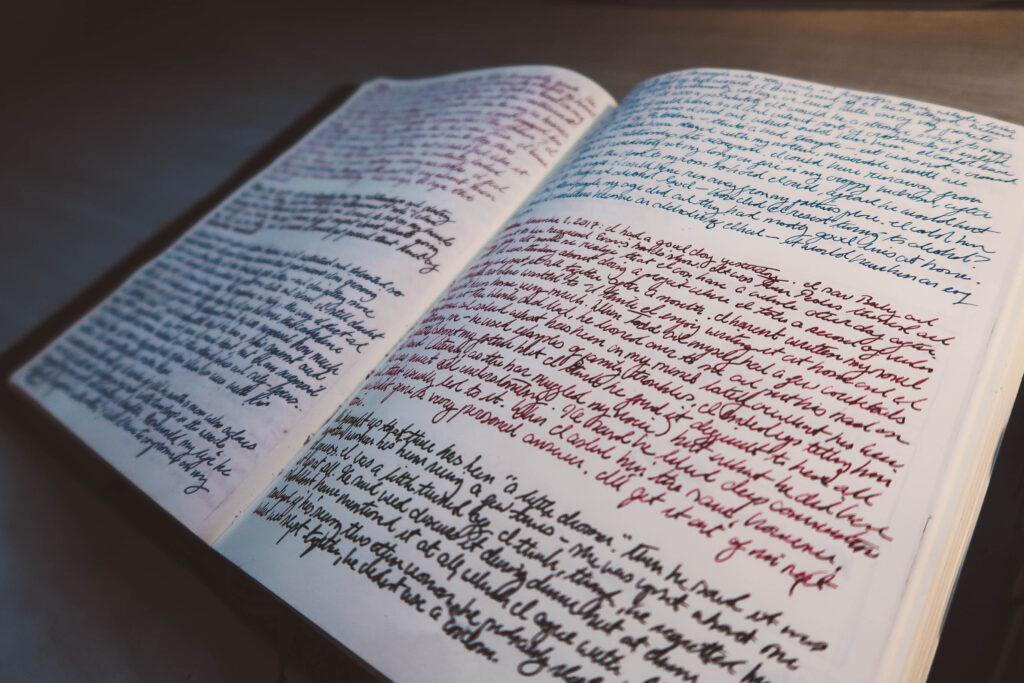 Amazing handwriting in a journal